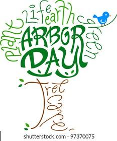 Text Illustration Celebrating Arbor Day