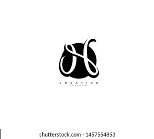 Text Initial H Letter Monogram Rounded Shape Black Color Logo