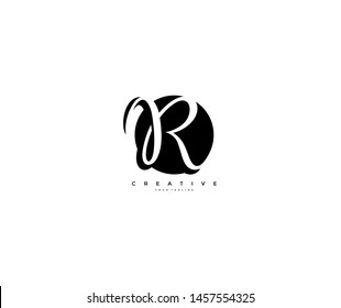 Text Initial R Letter Monogram Rounded Shape Black Color Logo