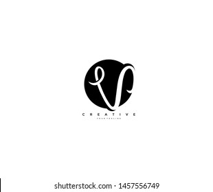 Text Initial V Letter Monogram Rounded Shape Black Color Logo