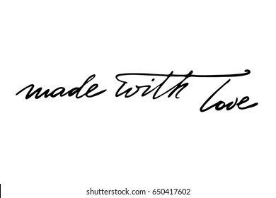 Text label phrase handwriting text Made with love. Handwritten black text isolated on white background, vector. Each word is on the separate layer