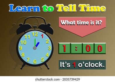 The text Learn to Tell Time, What time is it and the clock along with the number indicating 1 oclock.Learning time for Kindergarten and primary school .Illustrations for pamphlets, posters, stickers,