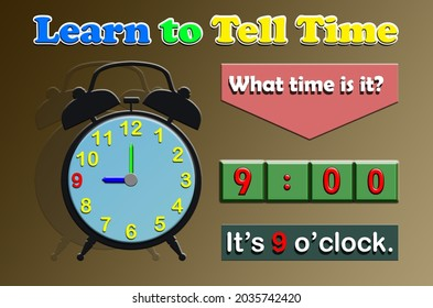 The text Learn to Tell Time, What time is it and the clock along with the number indicating 9 oclock.Learning time for Kindergarten and primary school .Illustrations for pamphlets, posters, stickers,