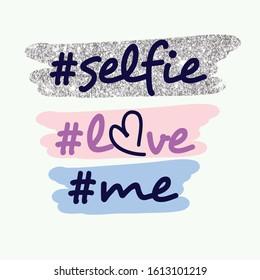 text line love heart color selfi girl tee illustration art vector