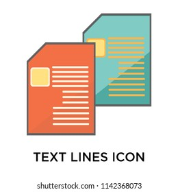 Text lines icon vector isolated on white background for your web and mobile app design, Text lines logo concept