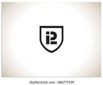 Text logo which consists of connected abbreviations P and L in shield. Isolated sign symbol of PL.