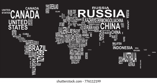 World map with country names images stock photos vectors text map of the world with names mentioned in each countries gumiabroncs Image collections