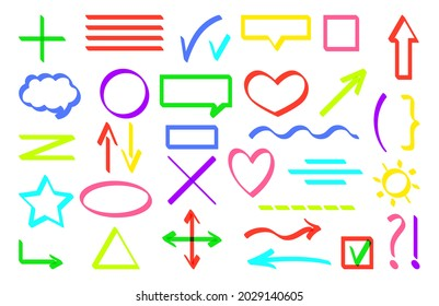 Text marker lines underline strokes set isolated on white. For highlighting marking and coloring important details. Flat style multicolor scrawls. Check marks, underlines, arrows. Vector illustration