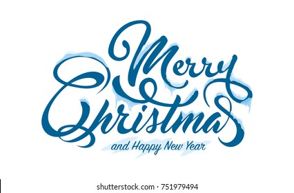 Text Marry Christmas with snow and ice