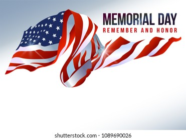 Text Memorial Day on American flag