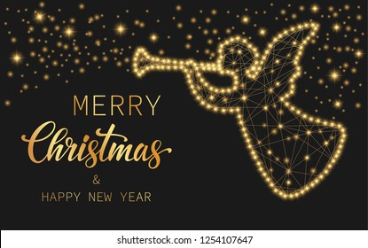 Text Merry Christmas and Happy New Year. Bright shiny angel on a black background with golden stars. Festive illustration for your design. Vector illustration.