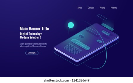 Text message isometric, mobile chat dialog, messenger concept, mobile phone keyboard, chatbot, support online, feedback application dark neon vector background