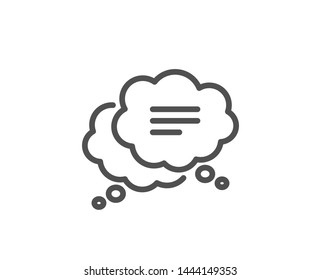 Text message line icon. Chat comment sign. Comic speech bubble symbol. Quality design element. Linear style text message icon. Editable stroke. Vector