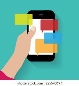 Text Messaging Flat  Concept Vector Illustration
