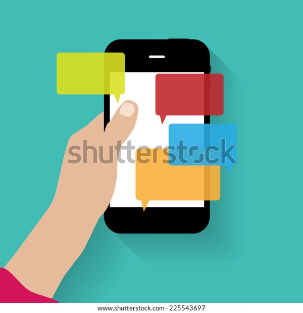 Text Messaging Flat  Concept Vector Illustration