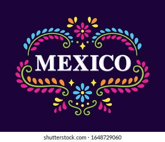 Text Mexico with beautiful floral ornament of traditional Mexican embroidery patterns. Colorful ethnic design banner, vector illustration.