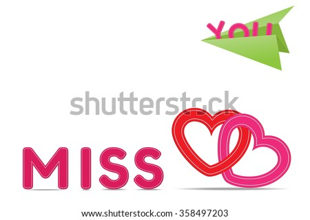 Text Miss You Heart Shape Stitch Stock Vector Royalty Free