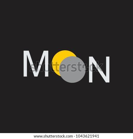 Text Moon Eclipse Symbol Logo Vector Stock Vector Royalty Free