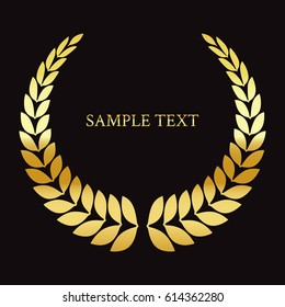 Text on a black background. Gold laurel wreath.