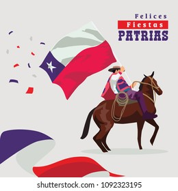 The Text On Image Means: Patriotic Holidays. Chile Man With Horse