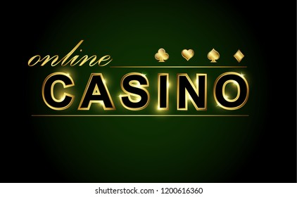 The text online casino in golden glowing font, on a dark background. The stylish design for gambling banner, casino, poker, slot, roulette or bone.