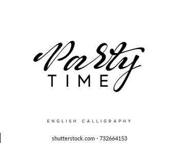 Text Party time. Xmas hand drawn calligraphy lettering.