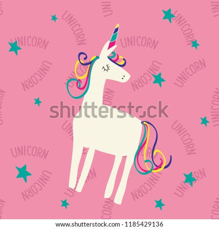 123241711d3 Text Pattern Baby Girl Unicorn Star Stock Vector Royalty Free