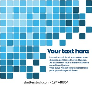 Text pattern with blue squares