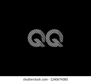 Text QQ Letter Monogram with Twister Floral Dots List Pattern Logotype