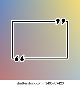 Text quote sign. Black icon in white shell at pastel color background. Illustration.