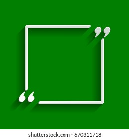 Text quote sign. Vector. Paper whitish icon with soft shadow on green background.