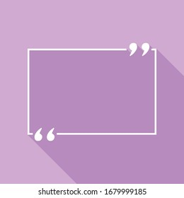 Text quote sign. White Icon with long shadow at purple background. Illustration.