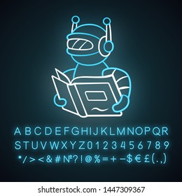 Text reading bot neon light icon. Screen reader application. Virtual assistant. Robot with book. Software app. Glowing sign with alphabet, numbers and symbols. Vector isolated illustration