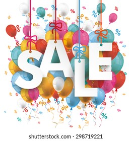 Text Sale with colored balloons and percents on the white background. Eps 10 vector file.