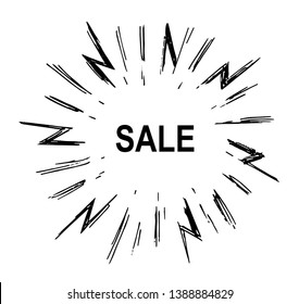 Text of sale with linear drawing light rays, sunburst and rays from the explosion. Vector hand drawn design element.