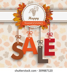 Text Sale with thanksgiving emblem and autumn foliage. Eps 10 vector file.