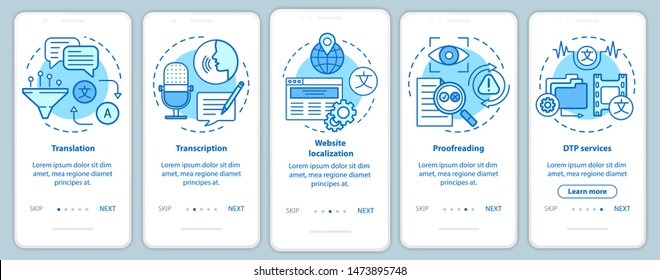 Text services blue onboarding mobile app page screen with linear concepts. Translation, transcription, proofreading walkthrough steps graphic instructions. UX, UI, GUI vector template with icons