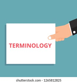 Text sign showing Terminology. Vector illustration