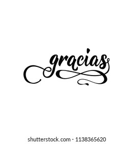 text in Spanish: Thank you. calligraphy vector illustration. element for flyers, banner and posters. Modern calligraphy. Gracias
