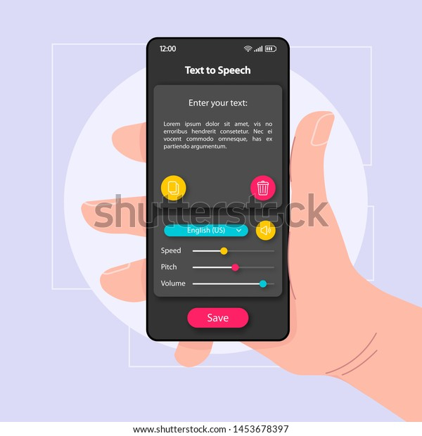 Text Speech Converter Smartphone Interface Vector Stock