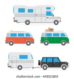 The text summer time on blue sky and sea background. Camp car on the beach. White trailer on the sand