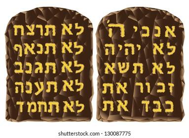 Text of the Ten Commandments in Hebrew