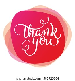 text thank you on red background. Calligraphy lettering Vector illustration EPS10