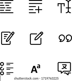 Text tools user interface outline icons.
