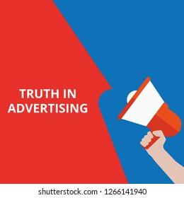 text Truth In Advertising. Vector illustration