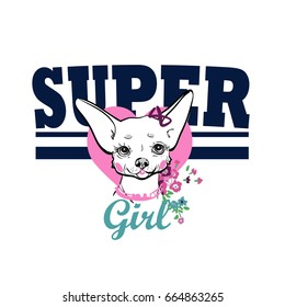 Text Vector print with dog for girl shirt isolated. Supergirl print.