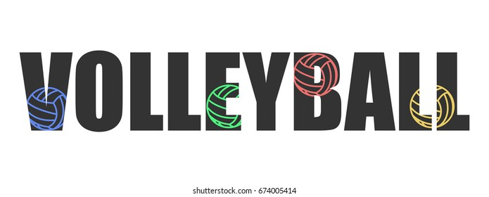 Text Volleyball logo text inversion colors banner