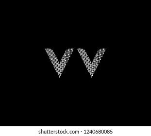 Text VV Letter Monogram with Twister Floral Dots List Pattern Logotype