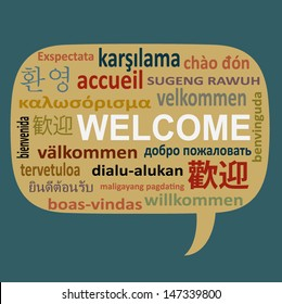 Text welcome in many language on speech bubble vector