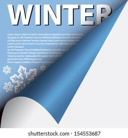 Text winter under curled corner